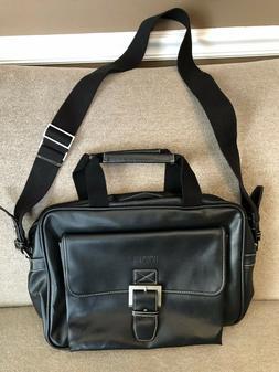 Kenneth Cole Reaction Black Leather Briefcase Messenger Bag