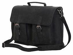 KomalC 15 Inch Black Retro Buffalo Hunter Leather Laptop Mes
