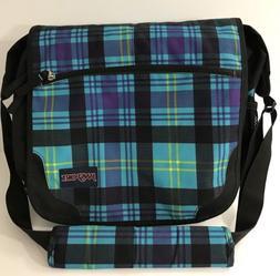 Jansport Blue Plaid Messenger Bag Laptop Bag Unisex Crossbod