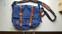 BRAND NEW Sechunk Vintage Military Blue Canvas Messenger Bag