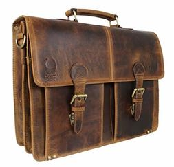 Briefcase Genuine Leather Messenger for Men Women Laptop Bag