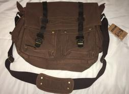 Berchirly Brown Canvas And Leather Messenger Bag Brand New W