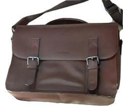 "Banuce Brown Faux Leather Messenger Bag 17"" Laptop Bag"