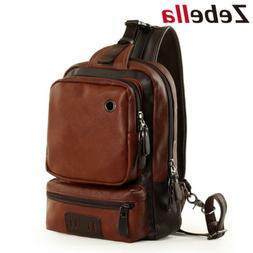 Business Men's PU Leather Messenger Shoulder Bag Crossbody S