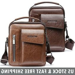 Business Mens Leather Crossbody Messenger Shoulder Bag Tote