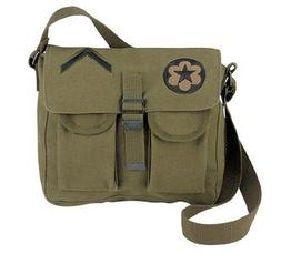 Rothco Canvas 2 Packet Shoulder Bag with Patches, Olive Drab