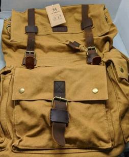 Kattee Canvas & Leather Hiking Backpack  Bag Brown ) Tan Lar