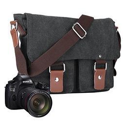 ALLCACA Canvas Camera Bag Waterproof SLR Messenger Bag Unise