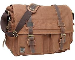 Berchirly Canvas Cow Leather Vintage Classic Army Messenger