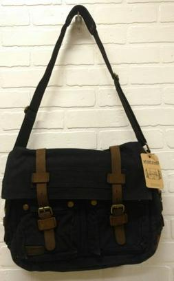 Berchirly Canvas Crossbody Messenger Bag Black/Brown