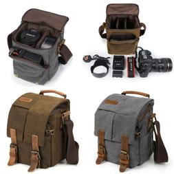 Grey S-ZONE Fashion Vintage Waterproof Casual Canvas SLR Digital Camera Bag Messenger Shoulder Case with Shockproof Insert /& Tablet Pocket for Canon//Nikon//Sony//Pentax DSLR and Accessories