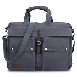 S-ZONE Canvas 17-Inch Laptop Messenger Bag Multicompartment