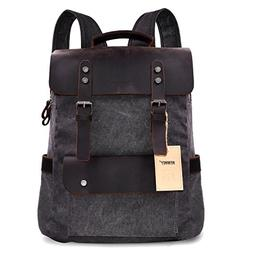 "Canvas Leather Backpack 15"" Laptop Backpack, Vintage Canvas"