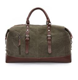 Sechunk Canvas Leather Big Travel Duffle Bag Green