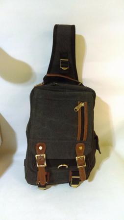KAUKKO Canvas Leather Crossbody Messenger Bag One Strap Slin