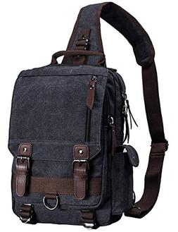 Mygreen Canvas Leather Crossbody Messenger Bag One Strap Sli