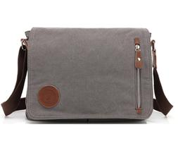 Sechunk Canvas Leather Messenger Bag Shoulder bag Cross body
