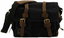 Sechunk Canvas Leather Messenger Bag Shoulder Cross Body sma
