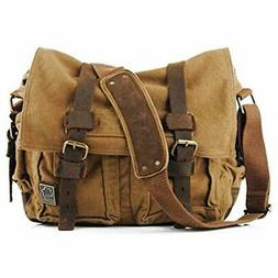 Sechunk Canvas Leather Messenger Bag Shoulder Cross Body Men