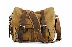 Sechunk Canvas Leather Messenger Bag Shoulder Cross