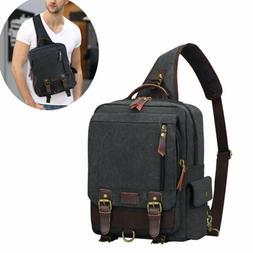 Canvas Men's Chest Bag Crossbody Laptop Sling Travel Single