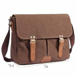 FLYMEI Canvas Messenger Bag 14Inch Laptop Shoulder Bags Book