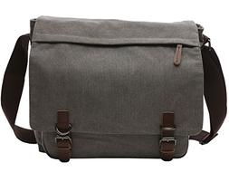 LIKU Canvas Messenger Bag for School Crossbody Laptop Bag Tr