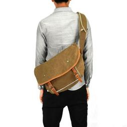 Kattee Canvas Messenger Bag, Causual Leather Trim Crossbody