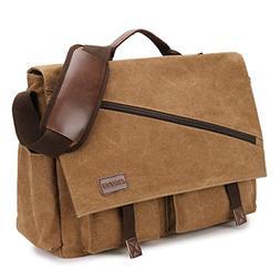 Canvas Messenger Bag,17.3 Inch Mens Satchel Water Resistant