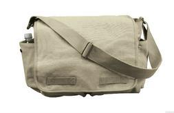 canvas messenger bag vintage style khaki 15'' X 11'' X 6'' r