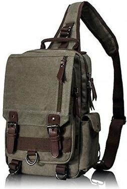 c7fe852c21 Leaper Canvas One Strap Sling Cross Body Messenger Bag Shoul