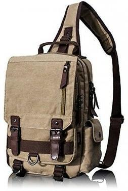 47b0621bd2 Leaper Canvas One Strap Sling Cross Body Messenger Bag Shoul