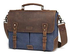 Vaschy Casual Genuine Leather Canvas messenger Bag Notebook