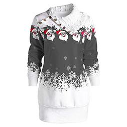 kaifongfu Christmas Dress with Snowflake Print Women Plus Si