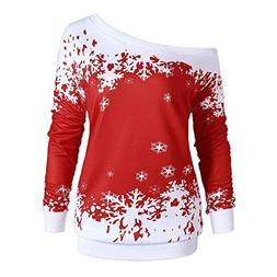kaifongfu Christmas Shirt,Women Long Sleeve Pullover Tops wi