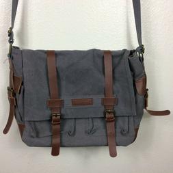 Sweetbriar Classic Laptop Messenger Bag Gray Canvas Brown Le