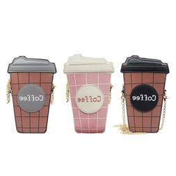 Coffee Cup Shape Bags Women Leather Clutch Crossbody Shoulde