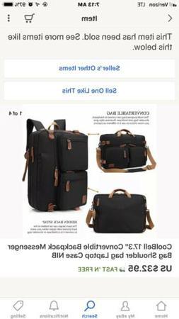 """CoolBell 17.3"""" Convertible Backpack Messenger Bag Shoulder b"""
