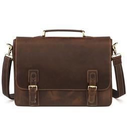 Kattee Men's Crazy Horse Leather Briefcase Messenger Laptop