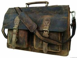 18 Retro Buffalo Hunter Leather Laptop Messenger Bag Office Briefcase College Bag by Urban Hide