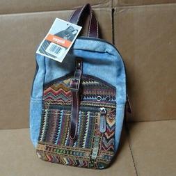 Leaper Denim Blue Messenger Bag One Strap Cross Body Womens