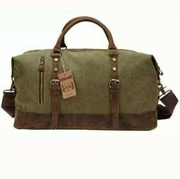 "Duffel Bag, Berchirly 21"" Large Canvas Leather Travel Sports"