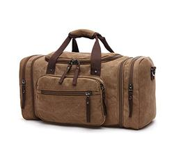 Sechunk Duffle Bag Canvas Leather Large Outdoor Shoulder Bag
