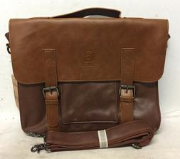 faux leather laptop vintage briefcase shoulder messenger