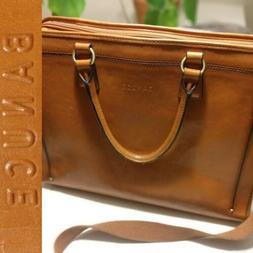 Banuce Full Grains Italian Leather Briefcase Unisex Business