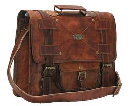 Genuine GVB Leather Bag Brown Vintage Men Gym Travel Luggage