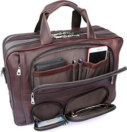 Iswee Genuine Leather Laptop Messenger Bag Business Briefcas