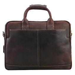 Texbo Genuine Leather Men's Briefcase Messenger Tote Bag Fit