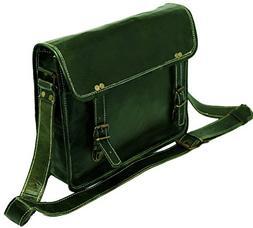 "13"" genuine Leather Messenger Bag Laptop Briefcase Satchel M"