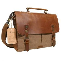Langforth Genuine Leather Vintage 14 Laptop Canvas Messenger